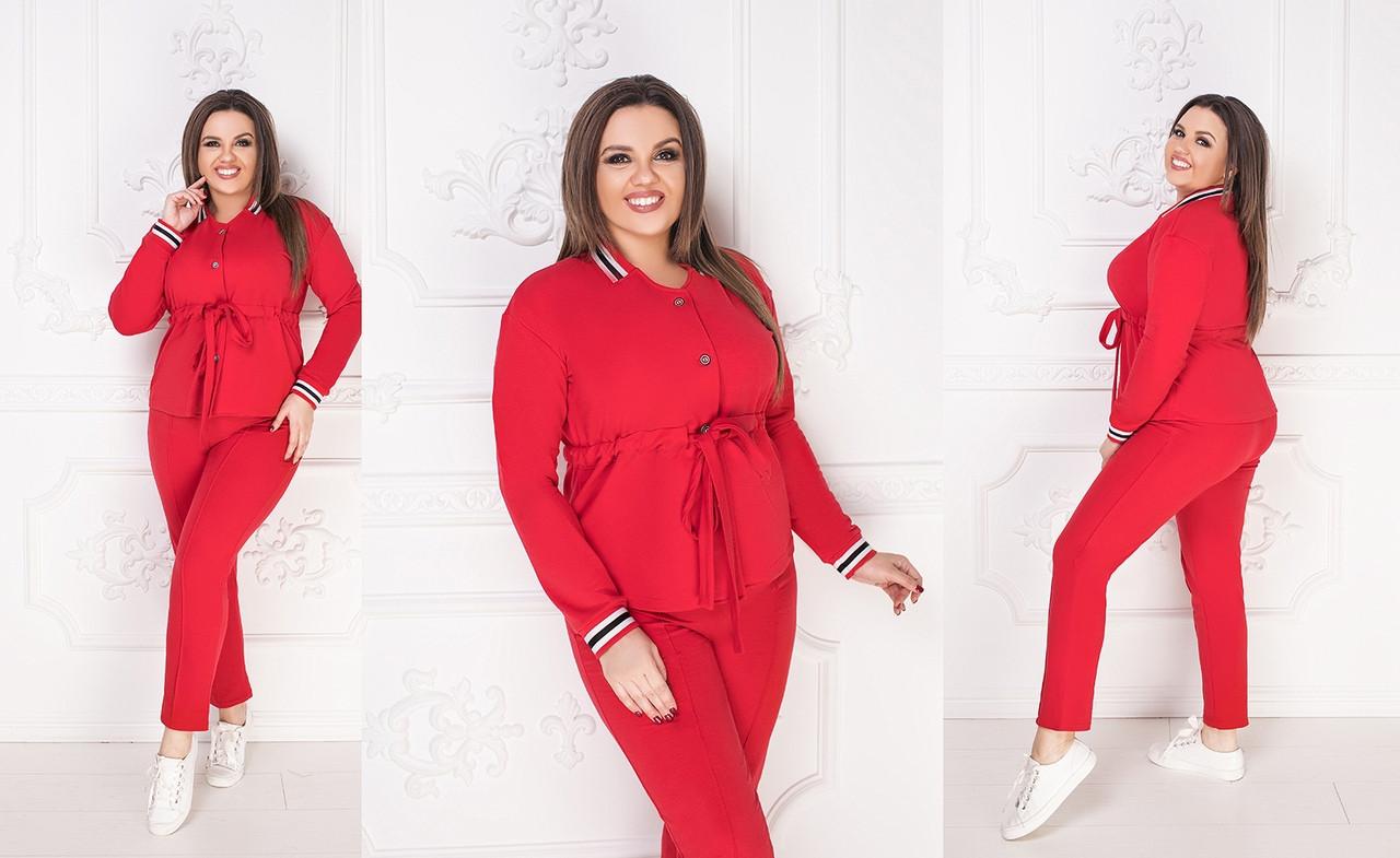 Брючный костюм из трикотажа двунитка, пиджак+брюки приуженые, пять цветов, р.48-50;52-54;56-58 код М165П