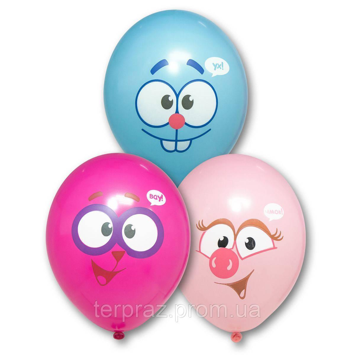 """Латексные шары круглые с рисунком  шар с рисунком 14"""" смешарики улыбки"""