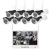 "Комплект видеонаблюдения беспроводной DVR KIT Full HD UKC CAD-1308 LCD 13.3"" WiFi 8ch набор на 8 камер"
