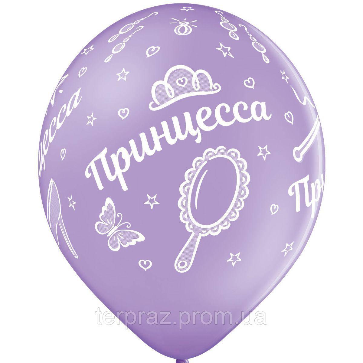 """Латексные шары круглые с рисунком  шелкография пастель 14"""" принцесса"""