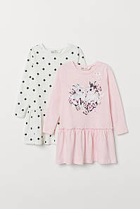 Платье розовое Зайки и белое в горошек длинный рукав H&M р.92, 110/116, 122/128, 134/140