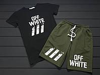 Комплект спортивный летний футболка и шорты черно-зеленый Off-White топ реплика