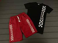 Комплект спортивный летний футболка и шорты черного цвета с красным Off-White топ-реплика