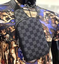 Мужская сумка мессенджер бананка Lou1s Vuitton черная. Живое фото (Реплика ААА+)