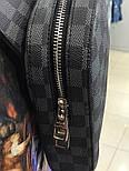 Мужская сумка мессенджер бананка Lou1s Vuitton черная. Живое фото (Реплика ААА+), фото 2