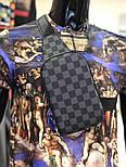 Мужская сумка мессенджер бананка Lou1s Vuitton черная. Живое фото (Реплика ААА+), фото 3