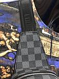 Мужская сумка мессенджер бананка Lou1s Vuitton черная. Живое фото (Реплика ААА+), фото 5