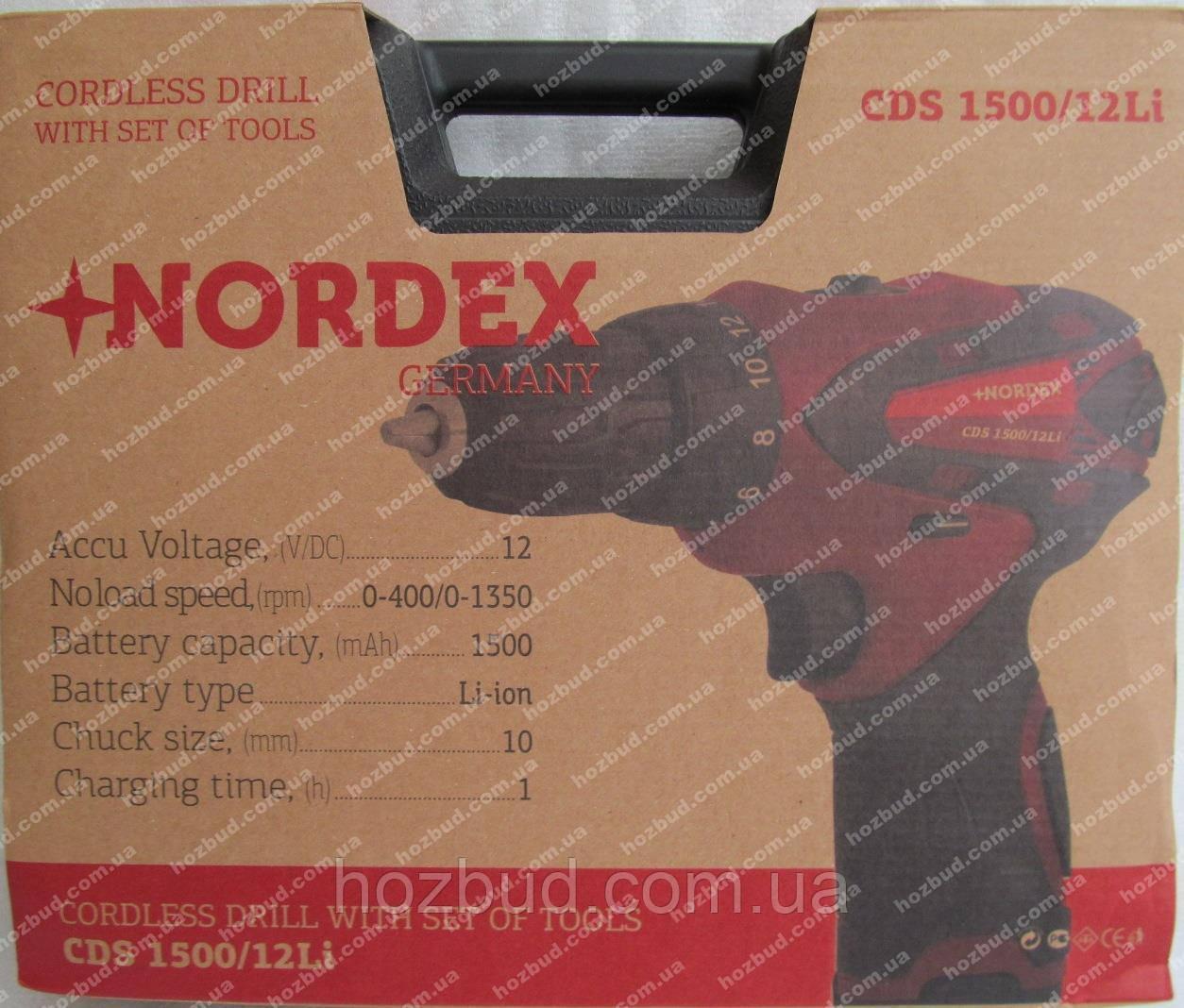 Шуруповерт акумуляторний Nordex CDS 1500/12Li (набір інструменту)