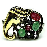 Серебряное кольцо с изумрудом, рубином и шпинелью, фигурка Слоник, 1139КЦС