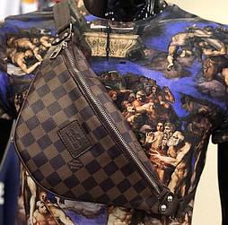 Мужская сумка на плечо бананка Lou1s Vuitton коричневая. Живое фото (Реплика ААА+)