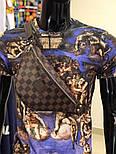 Мужская сумка на плечо бананка Lou1s Vuitton коричневая. Живое фото (Реплика ААА+), фото 3