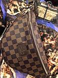 Мужская сумка на плечо бананка Lou1s Vuitton коричневая. Живое фото (Реплика ААА+), фото 4