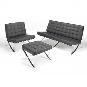 Диван Барселона 3 местный, кресло, оттоманка, цвет белый , черный
