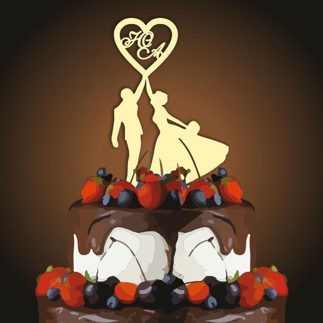 Топпер для торта свадебный 119