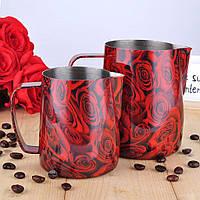 "Питчер для молока (молочник, джаг) Barista Space ""Red Rose"" 350 мл, фото 1"