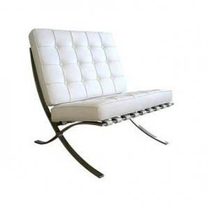 Кресло Барселона, экокожа, основание нержавеющая сталь, цвет белый, черный