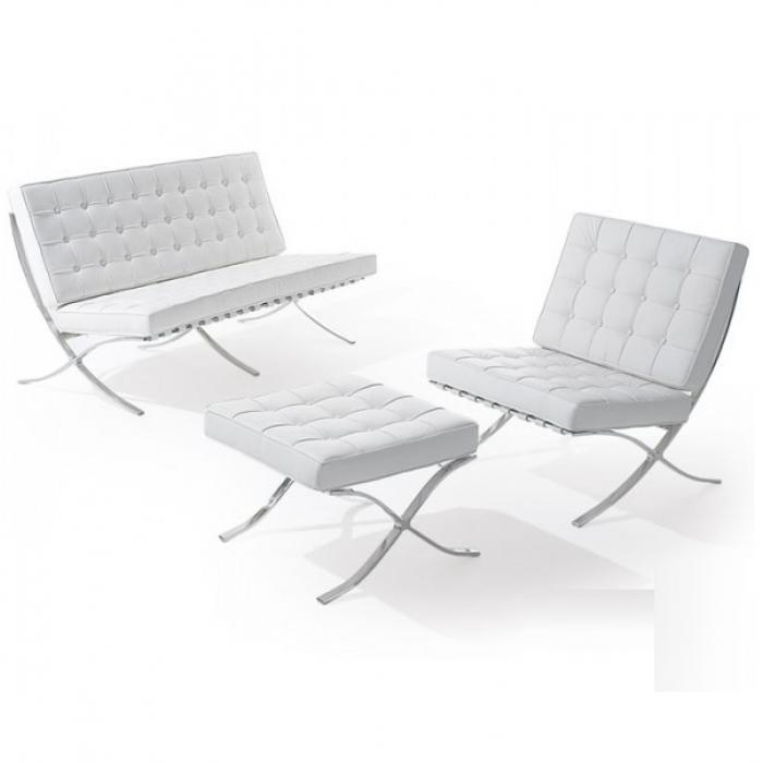 Диван Барселона 2-местный, кресло, оттоманка, цвет белый, черный