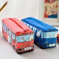 Пенал- косметичка Школьный автобус Красный