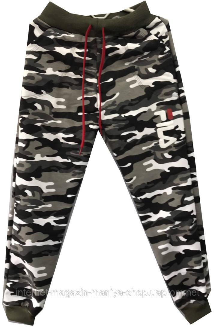 Спорт штаны на мальчика fila принт камуфляж 40-48 (10-15 лет) подросток (деми)