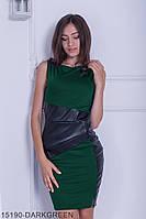 Стильное платье-футляр с асимметричными вставками  из экокожи Nerine