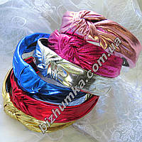 """Модная чалма на обруче с зубчиками (ободок-расческа для волос в восточ.стиле) в 6 цветах, ткань """"металлик"""""""