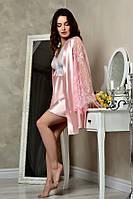 Короткий розовый комплект с пеньюаром