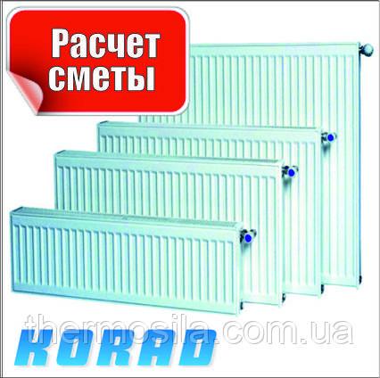 Радиатор стальной Тип 22 бок 500 х 1800, KORAD