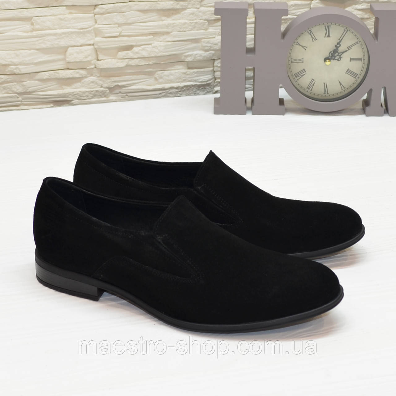 Туфли мужские классические, из натурального черного замша