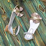 Босоножки женские кожаные на низком ходу, цвет золото, фото 6
