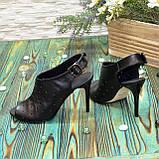 Женские кожаные черные босоножки на шпильке, фото 4
