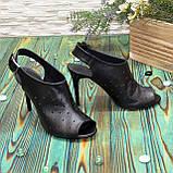 Женские кожаные черные босоножки на шпильке, фото 5