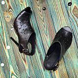 Женские кожаные черные босоножки на шпильке, фото 6
