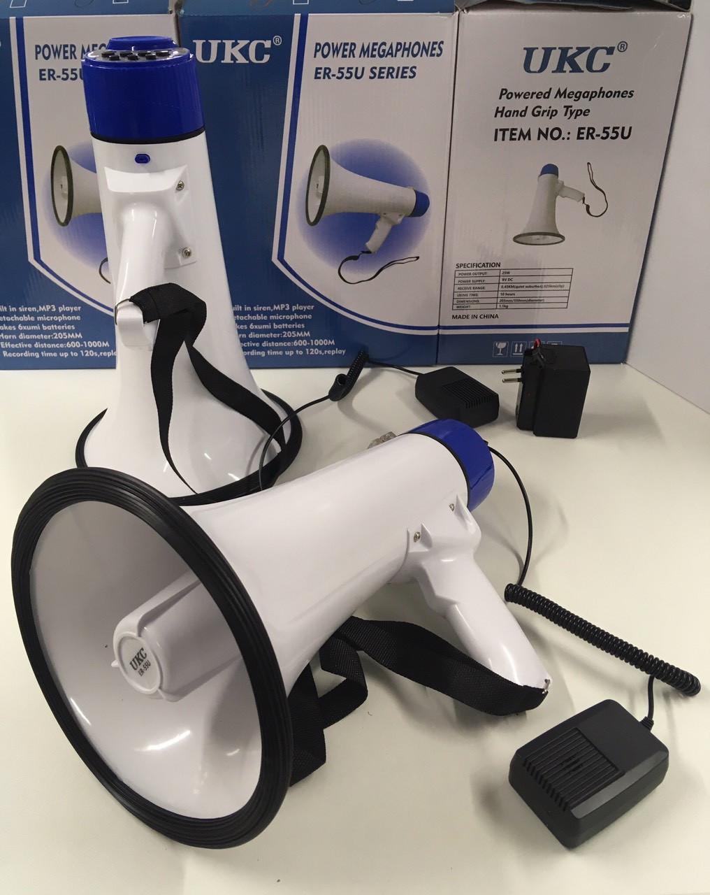 Мегафон POWER MEGAPHONE +МР3, UKC ER-55U, громкоговоритель, рупор ручной