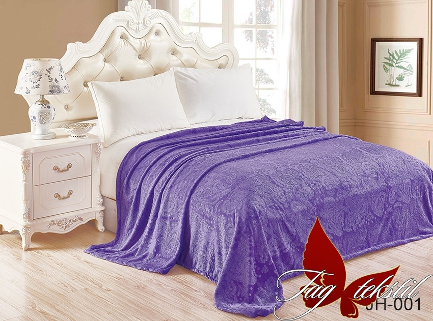 Плед покрывало 160х220 велсофт Сирень на кровать, диван