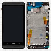 Дисплейный модуль (дисплей + сенсор) для HTC One M7 801e, с передней панелью, оригинал (черный)