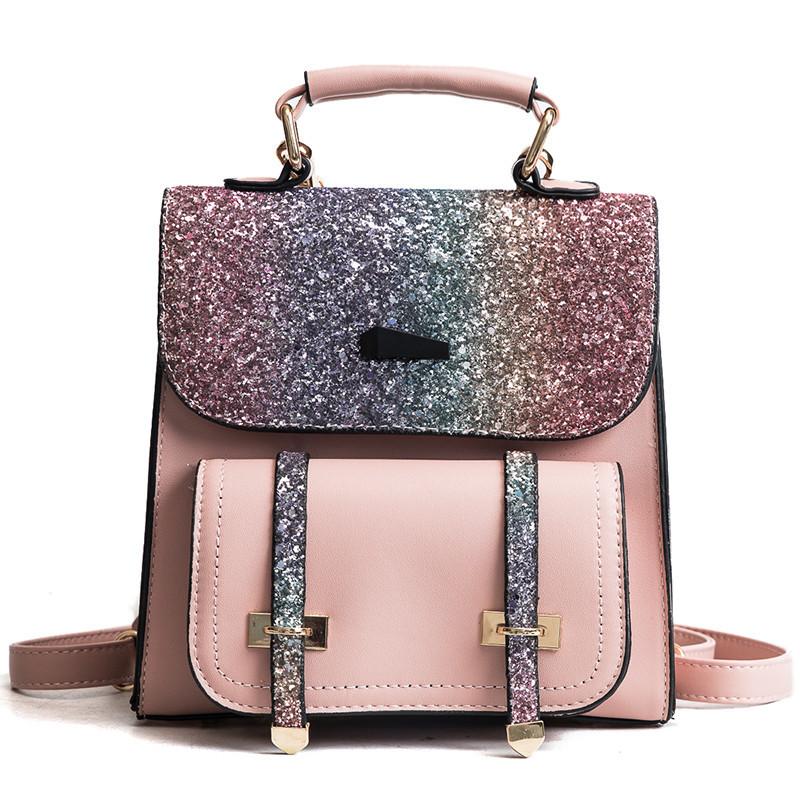 Рюкзак портфель с блестящим глиттером розовый HLDAFA (AV102)
