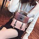 Рюкзак портфель с блестящим глиттером розовый HLDAFA (AV102), фото 4