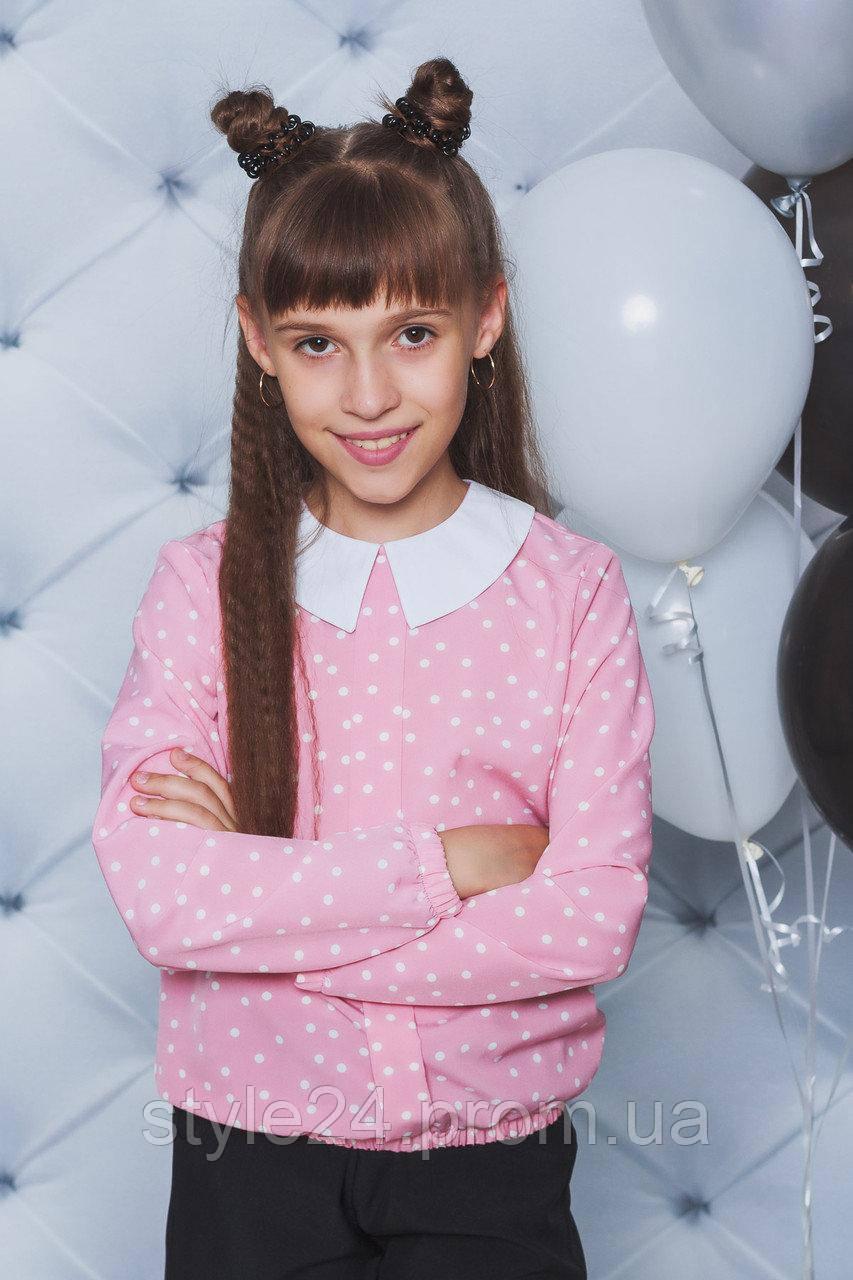 Блуза на дівчинку  в горох ,2 кольори .Р-ри 122-152