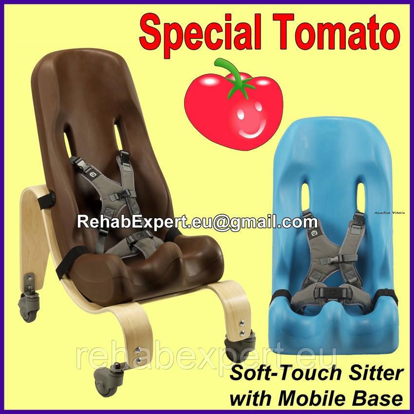 Ортопедическое кресло для детей с ДЦП c деревянной мобильной базой Special Tomato Sitter Size 4 + Mobile Base
