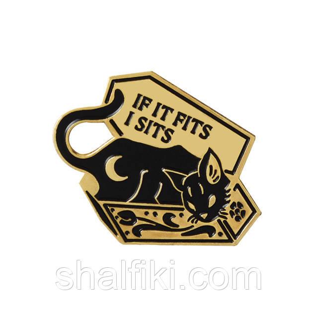 """""""Кошка чёрная в гробу If it fits I sits"""" значок (пин) металлический"""
