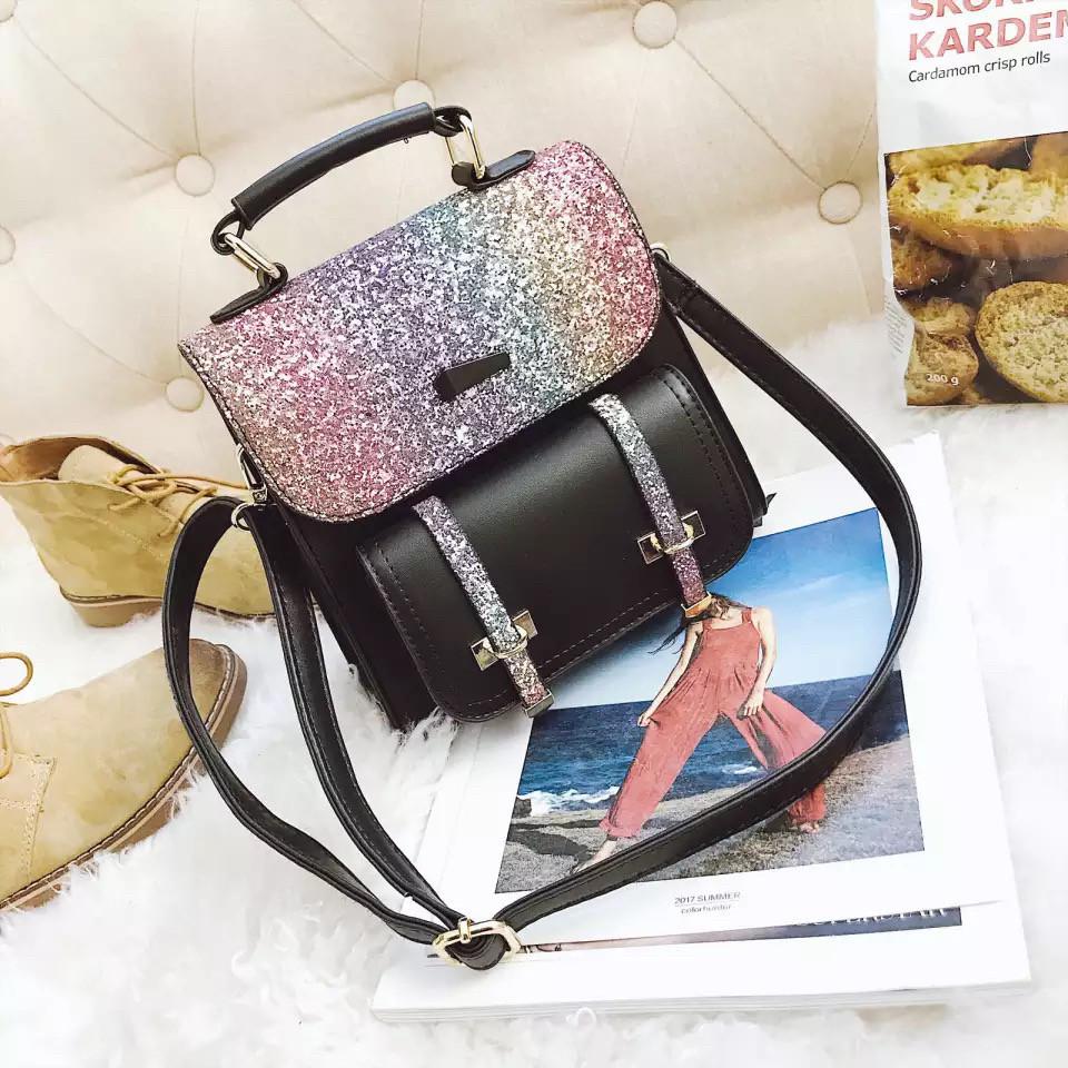Рюкзак портфель с блестящим глиттером черный HLDAFA (AV102)