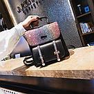 Рюкзак портфель с блестящим глиттером черный HLDAFA (AV102), фото 2