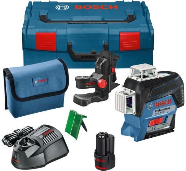 Линейный лазер Bosch GLL 3-80 CG Professional + BM 1 +12 V + L-Boxx 360° зеленый луч