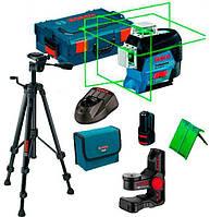Линейный лазер Bosch GLL 3-80 CG Professional + BM 1 +12 V + L-Boxx 360° зеленый луч, фото 3