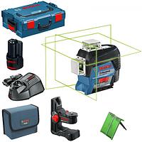 Линейный лазер Bosch GLL 3-80 CG Professional + BM 1 +12 V + L-Boxx 360° зеленый луч, фото 5