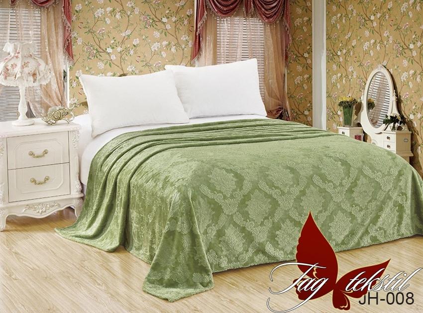 Плед покрывало 160х220 велсофт Папоротник на кровать, диван