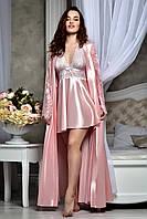 Красивый атласный комплект для невесты в розовом цвете