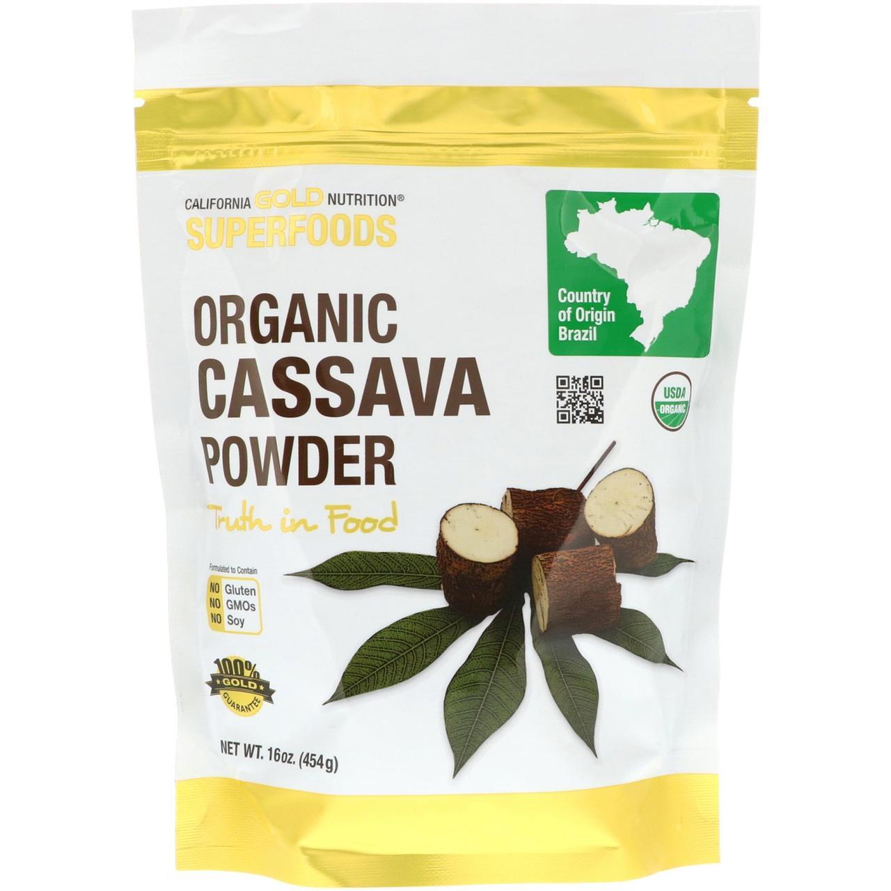 """Маниока в порошке California GOLD Nutrition, Superfoods """"Organic Cassava Powder"""" (454 г)"""