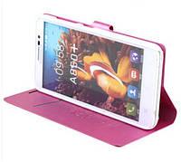 Чехол книжка для Lenovo A850+ c оригинальной фактурой розового цвета