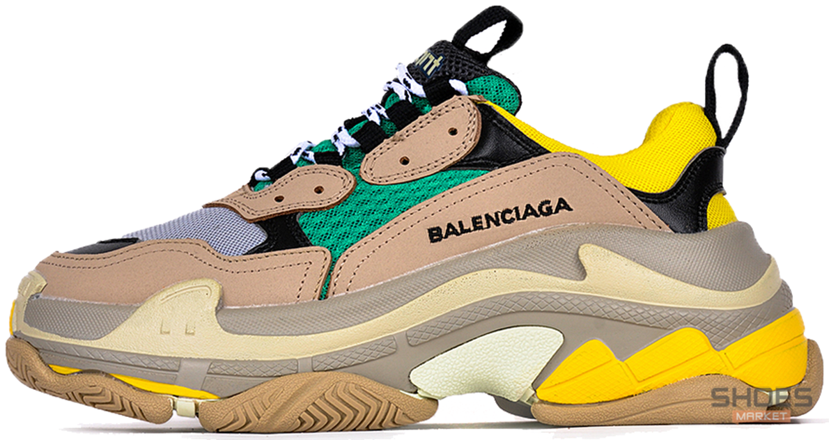 Мужские кроссовки Balenciaga Triple S Beige/Green/Yellow 483513-W06E3-7070, Баленсиага Трипл С